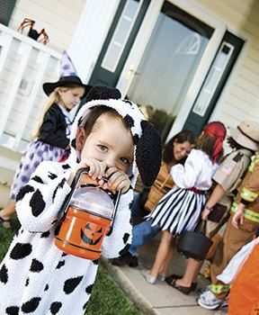 Group of neighborhood children on Halloween