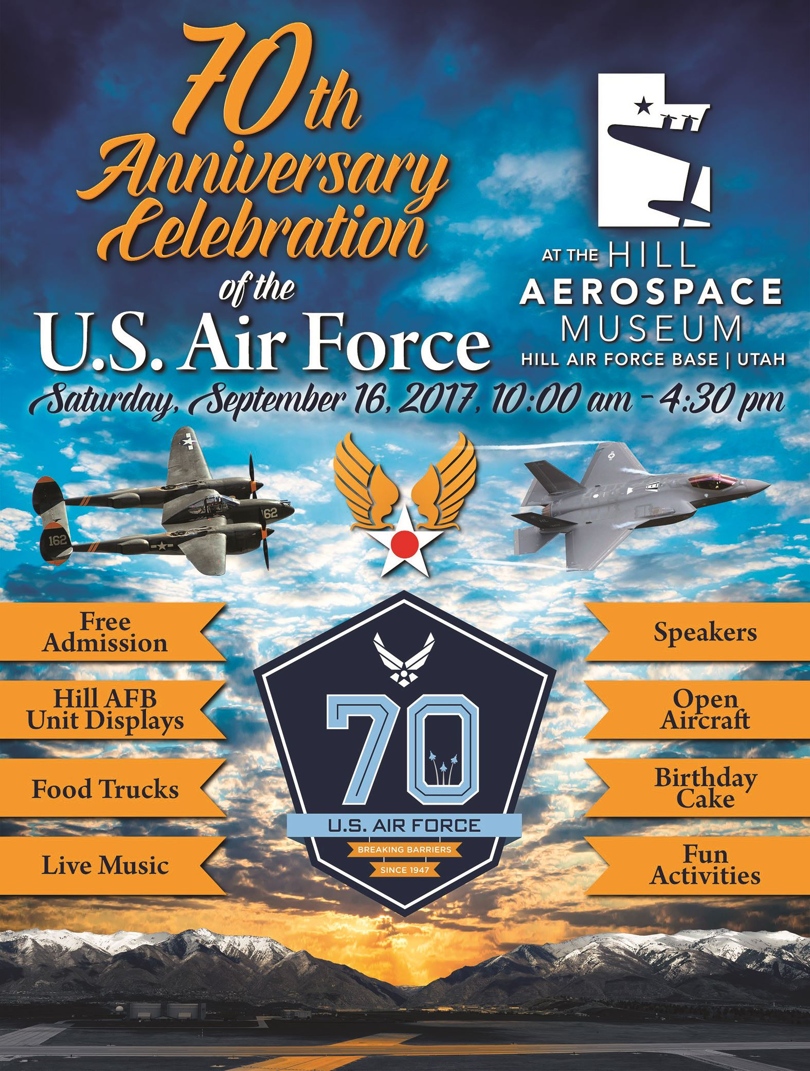 Hill Aerospace Museum to Host USAF 70th Anniversary Celebration